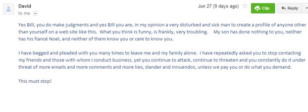 6 26 14 David Mazor Krubinski emails me back saying I'm sick for posting Seans name on a fake profile.