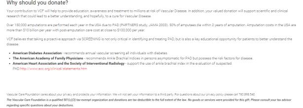 Vascular Care Foundation donate