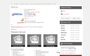 As seen here, David Mazor aka David Krubinski updated the WICR listings at Manta.com, Son Sean Krubinski is the chief contact person.