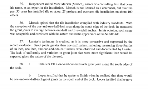 Mark Marsch testimony DT tile job