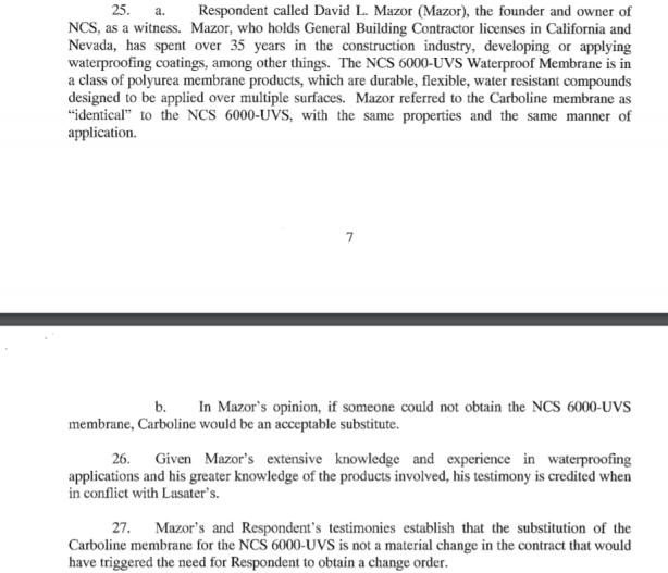 mazor DT testimony carboline NCS