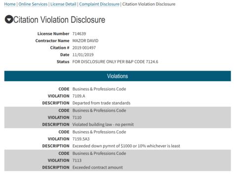 David mazor complaint disclosure cslb