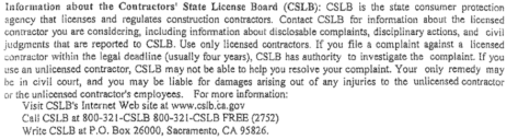 CSLB notice WICR contract